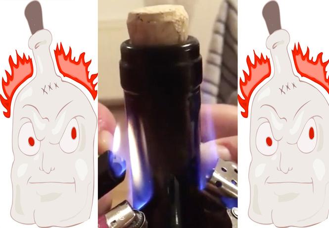 Как открыть вино с помощью зажигалки