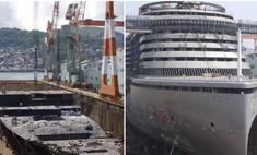 Как строится гигантский круизный лайнер— пошаговое видео