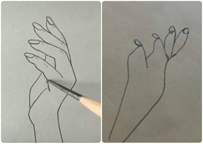 В Твиттере попытались нарисовать руку по обучающему видео, но не тут-то было (12 рисунков)