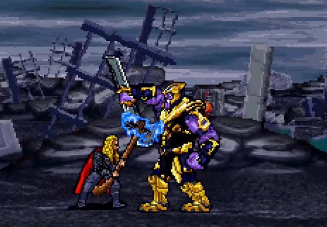 сцену сражения таносом последних мстителей воссоздали 16-битной версии