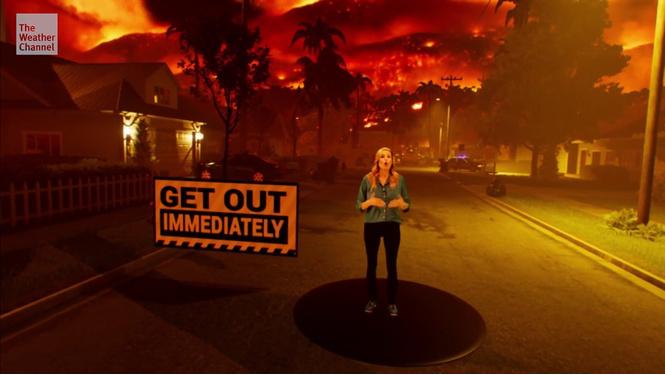 американский телеканал наглядно показал распространяются лесные пожары видео