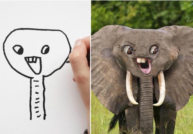 отец воссоздает фотошопе рисунки детей