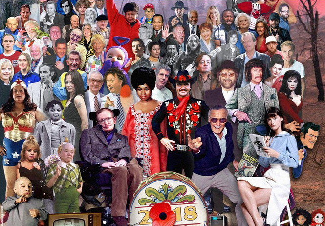 художник изобразил знаменитостей умерших 2018 стиле обложки сержанта