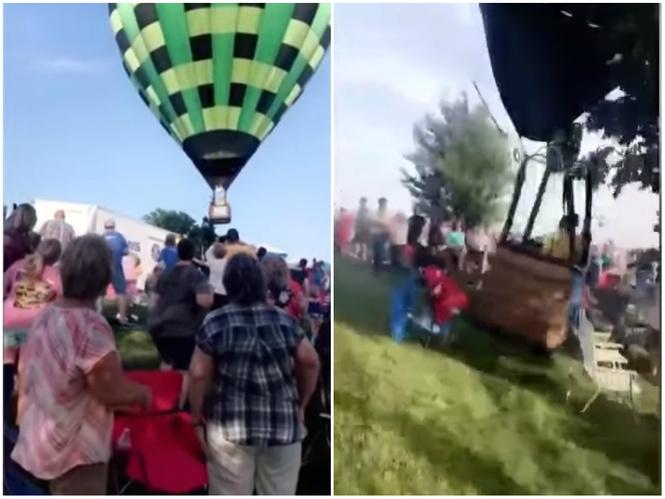 Воздушный шар потерял высоту и врезался в толпу (стремительное видео)