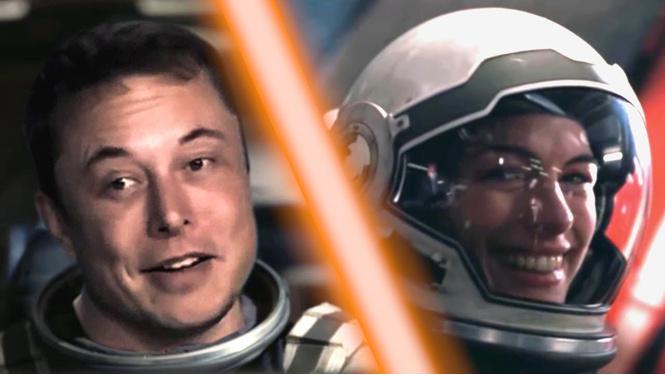илон маск сажает первую ступень spacex интерстеллар видео