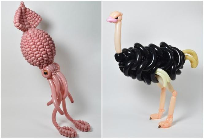японец сворачивает невообразимые скульптуры животных воздушных шаров