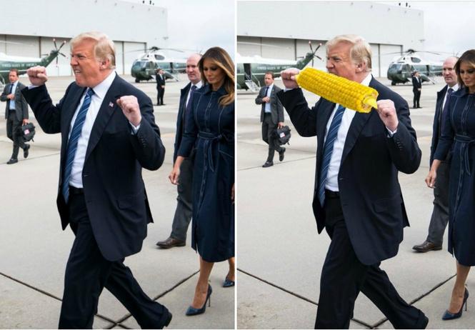 Лучшие фотожабы на странный жест Трампа