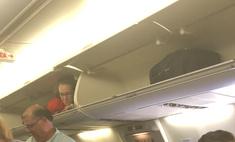 стюардесса озадачила пассажиров забравшись багажную полку видео