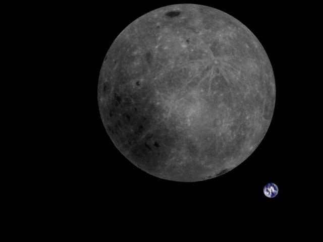 Свежее фото из космоса: обратная сторона Луны и крошечная Земля