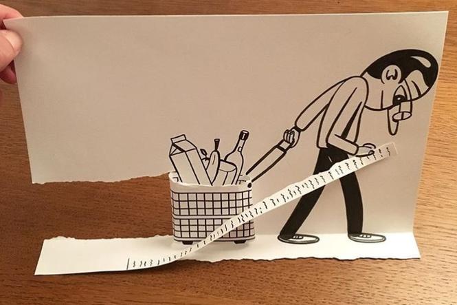 Художник создает рисунки с помощью рваной бумаги