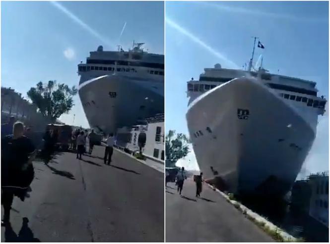 круизный лайнер таранит прогулочное судно причал венеции видео