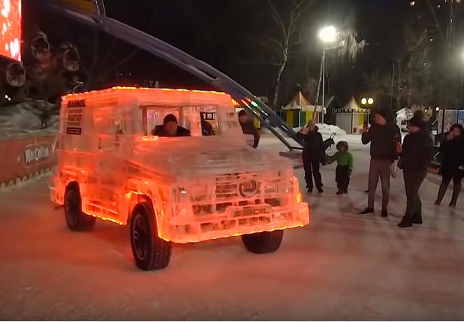Мерседес «Гелендваген» изо льда (видео)