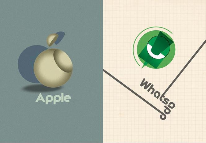 дизайнеры нарисовали логотипы современных брендов стиле баухаус