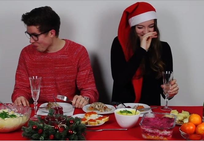 Немцы пробуют русскую новогоднюю еду (познавательное видео)