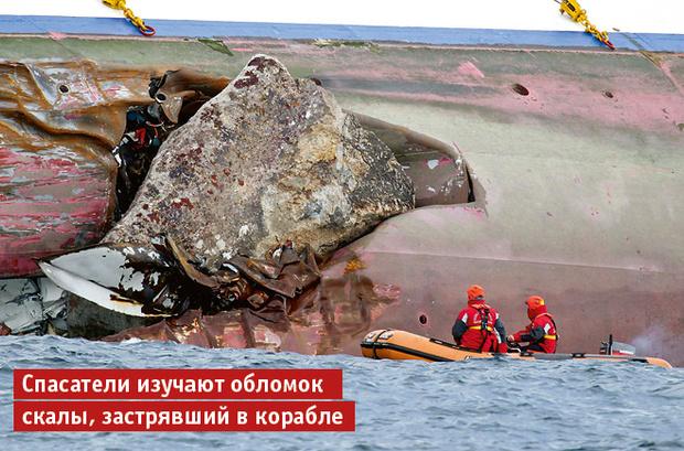 Спасатели изучают обломок скалы, за- стрявший в корабле