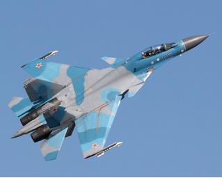 Су-30 заглянул посмотреть, что происходит (ВИДЕО)