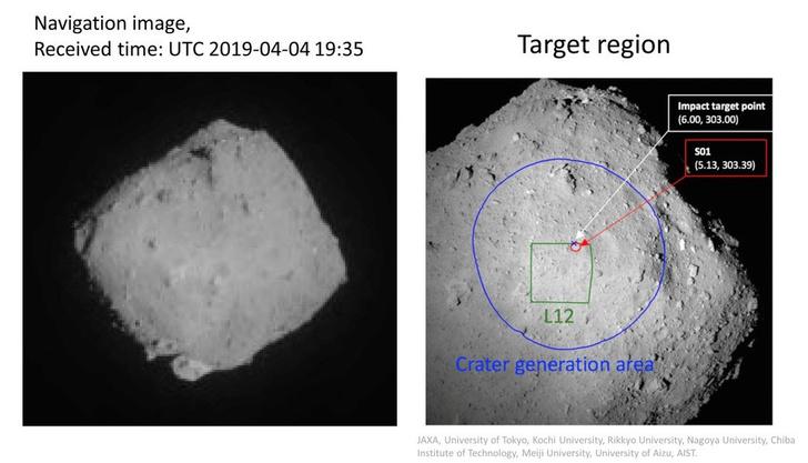 Фото №1 - Японский зонд «Хаябуса-2» продолжает расстреливать астероид (видео)