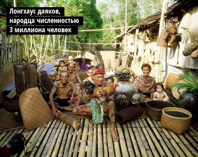 Лонгхаус даяков, народца численностью 3 миллиона человек