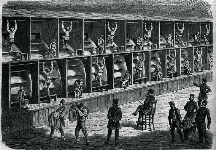 Ступальные колеса влондонской тюрьме, 1868год