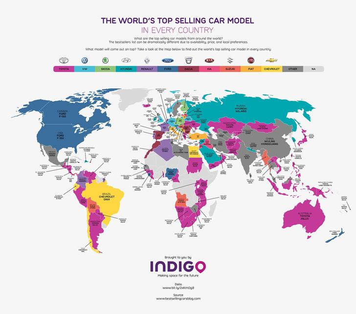 Фото №1 - Объявлены самые популярные в мире марки авто