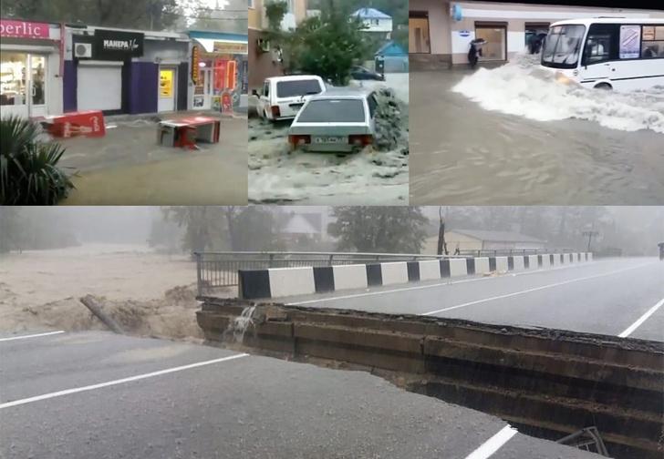 Фото №1 - В Туапсе из-за потопа по улицам плавают маршрутки, люди и холодильники (видео)