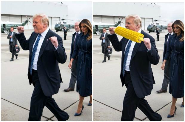 Фото №1 - Лучшие фотожабы на странный жест Трампа