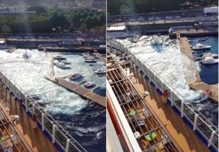 Круизный лайнер волнами разрушил причал и потопил яхты. Видео!