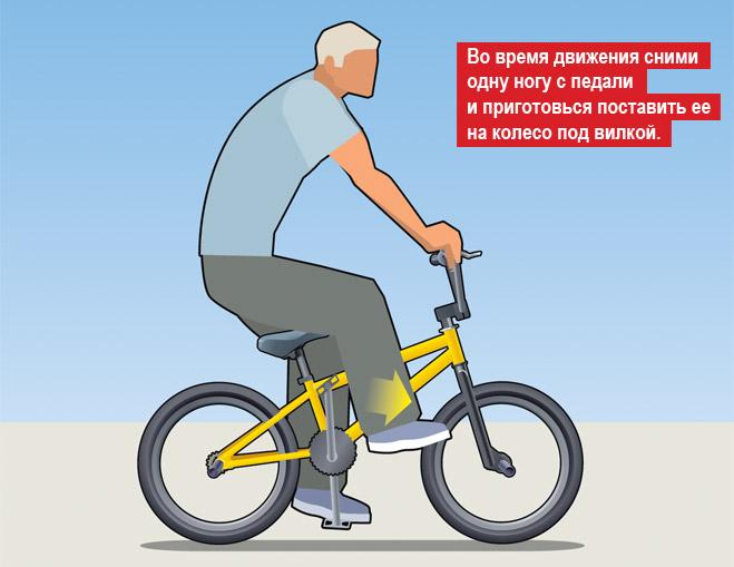 Стойка на переднем колесе на BMX