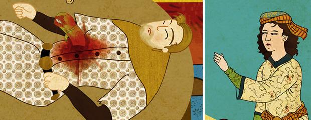Фото №12 - Художник воссоздал культовые сцены из «Терминатора», «Чужого» и других фильмов в стиле восточных миниатюр
