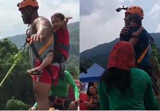 Мужчина прыгнул с тарзанки с двухлетней дочкой в руках! Экстремально-возмутительное ВИДЕО