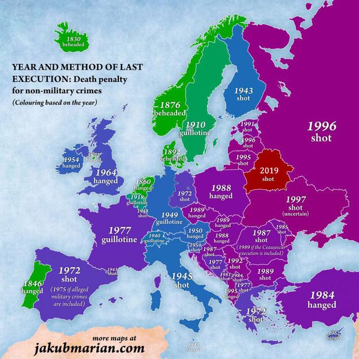 Фото №2 - Карта Европы с указанием даты и способа последней смертной казни