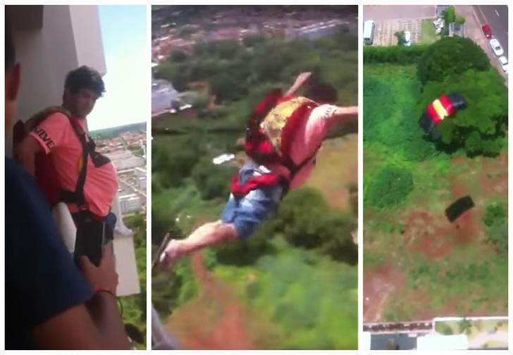 Фото №1 - Купил в Интернете парашют и прыгнул с балкона! Видео!