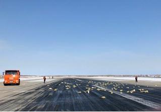 В Якутске самолет, взлетая, растерял слитки золота и серебра! (растерянные ФОТО и ВИДЕО)