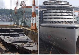 Как строится гигантский круизный лайнер. Грандиозное пошаговое ВИДЕО