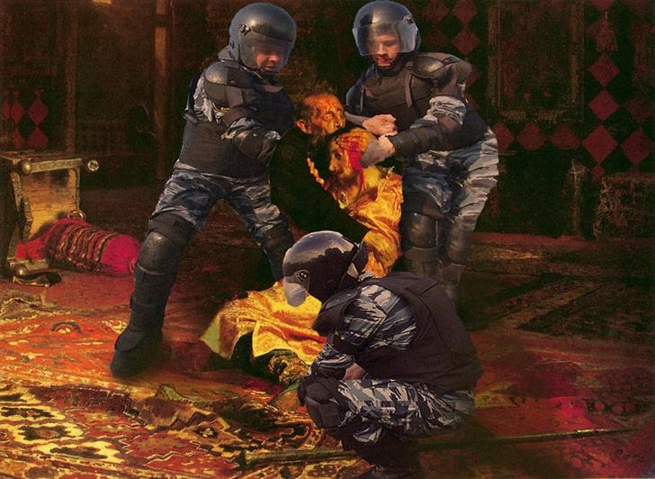 Фото №1 - Силовики стали персонажами фотожаб после жестких задержаний участников протестов 27 июля в Москве