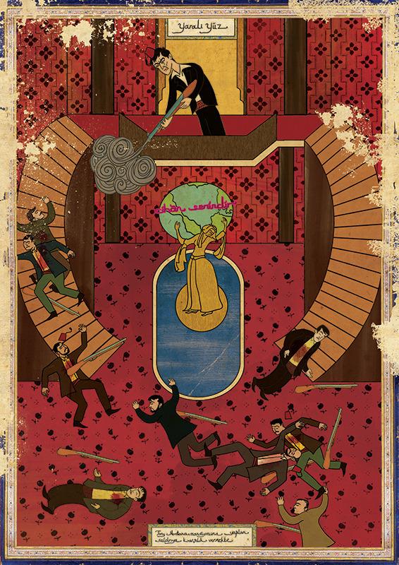 Фото №13 - Художник воссоздал культовые сцены из «Терминатора», «Чужого» и других фильмов в стиле восточных миниатюр