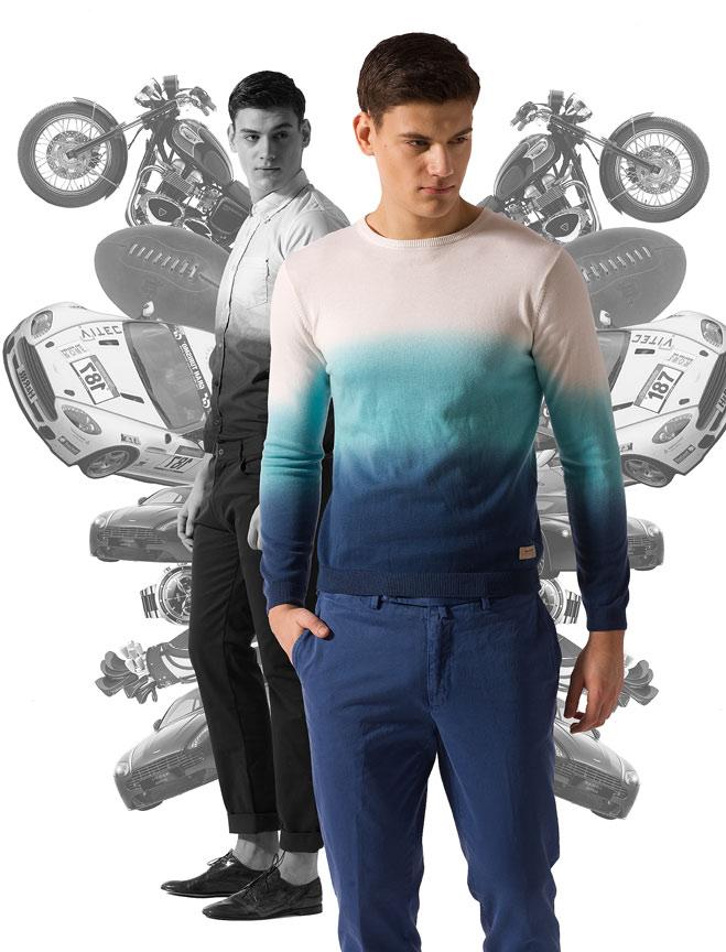 Рубашка Diesel, брюки Le Coq Sportif, туфли Premiata; джемпер Gant, брюки  Gant