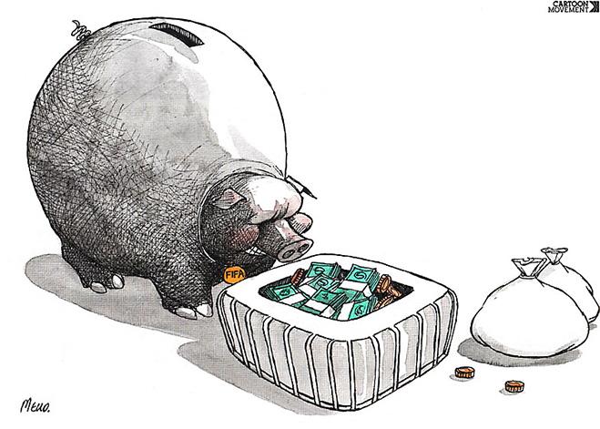 Фото №19 - Пенальти разных широт: коррупция ФИФА глазами иностранных карикатуристов