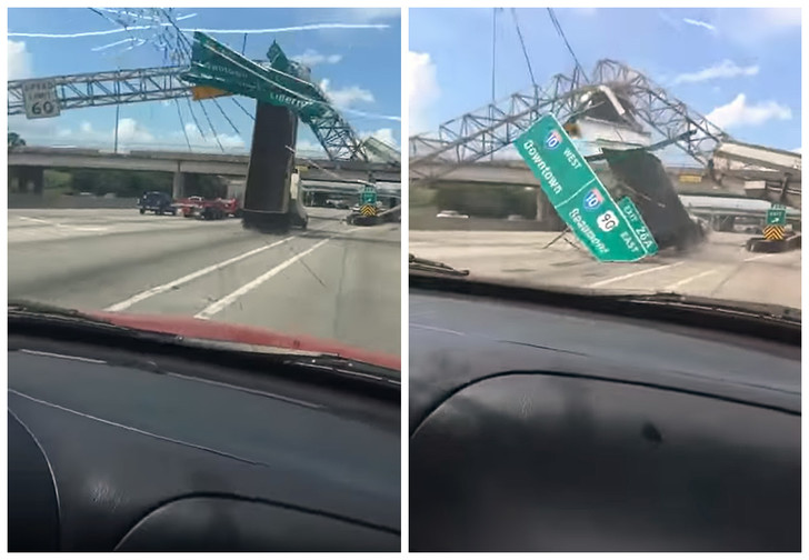Фото №1 - Дерзкий таран дорожных указателей самосвалом попал на видео!