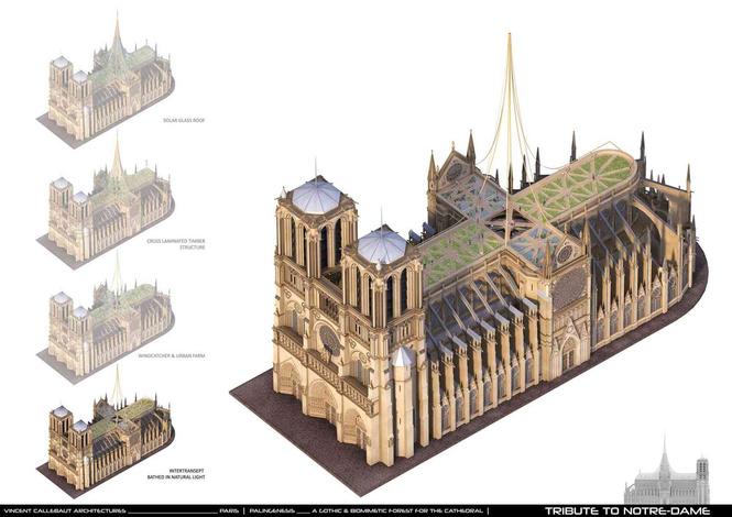 Как предлагают восстановить Нотр-Дам. Стеклопластиковая крыша, солнечные панели, сады и футуризм (фото)
