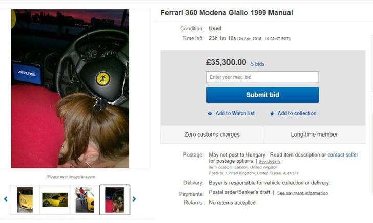 Фото №4 - Парень выставил на eBay «Феррари» с фото, на котором девушка делает ему догадайся что!
