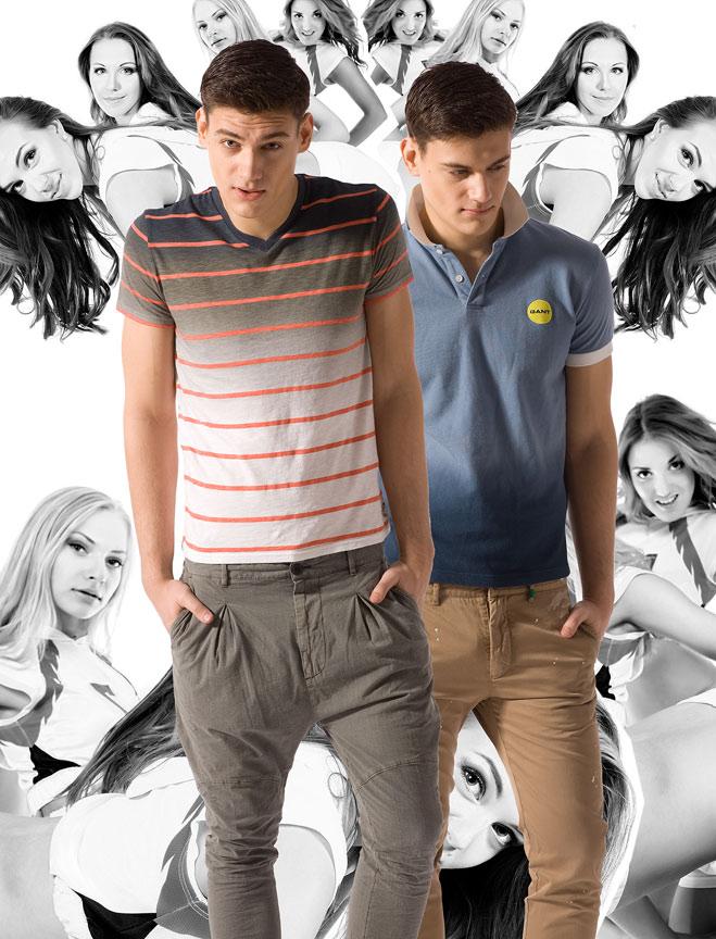 Футболка American Eagle, брюки Energie; рубашка-поло Gant, брюки Marc O'Polo