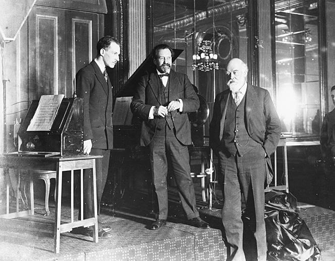 Лев Термен, сэр Генри Вуд и сэр Оливер Лодж, Лондон, 1927 г.