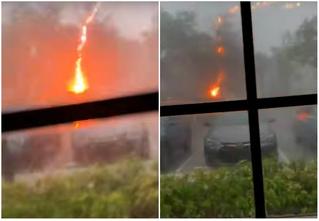 Женщина снимала на видео свой двор, когда в него бабахнула положительная молния (видео)
