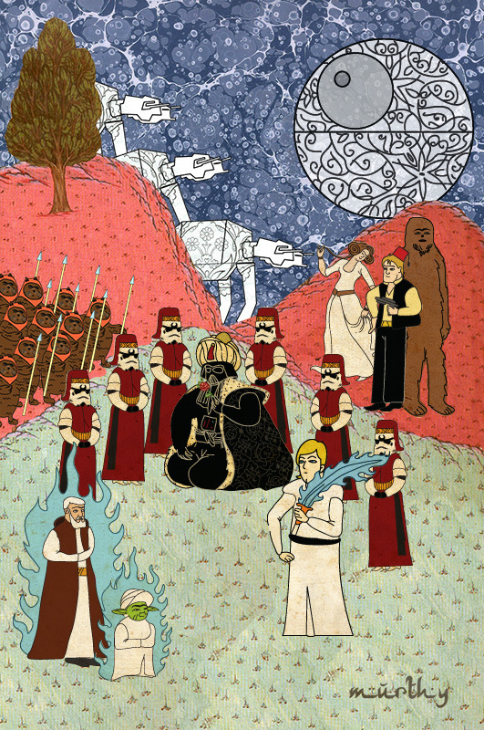 Фото №1 - Художник воссоздал культовые сцены из «Терминатора», «Чужого» и других фильмов в стиле восточных миниатюр