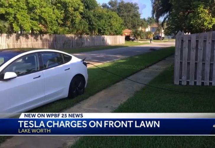Фото №1 - Житель Флориды поймал водителя Tesla, который воровал у него электричество