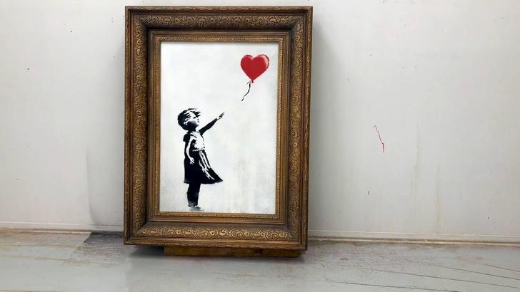 Фото №1 - Режиссерская версия уничтожения картины Бэнкси на аукционе (видео)