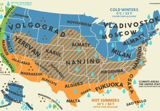 На Reddit сделали карты климатических соответствий США и России