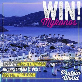 WIN an incredible holiday to the beautiful Mykonos for you and a friend! ? Just follow @ProteinWorld for a chance to win!