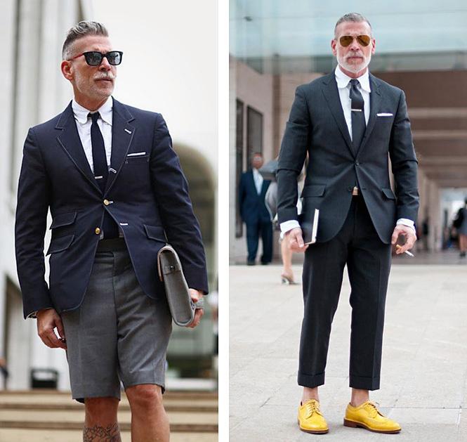 Пиджаки в сочетании с шортами, штанами-карго и укороченным брюками